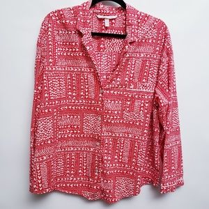 Victoria's Secret Red White Heart PJ Top Sz XL